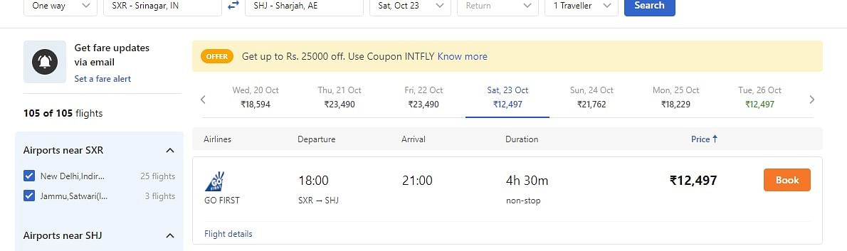 Screenshot of an online travel booking company