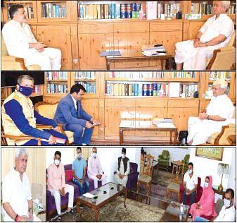 Former minister, DDC delegations call on Lt Governor Manoj Sinha