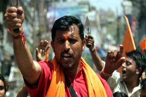 Rashtriya Bajrang Dal protests against Mehbooba Mufti in Jammu