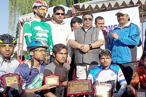 Aalam flags of cycling event in Shahr-e-Khaas