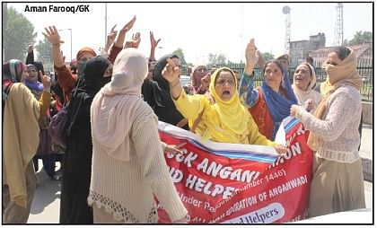 Anganwadi workers protest, seek redressal of demands