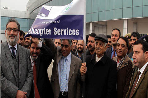 CM flags off helicopter service to Gulmarg, Pahalgam