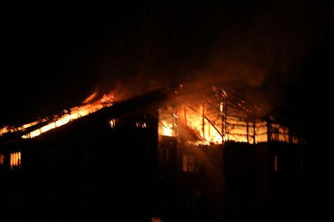 Fire guts school, residential quarters inside DPL Anantnag