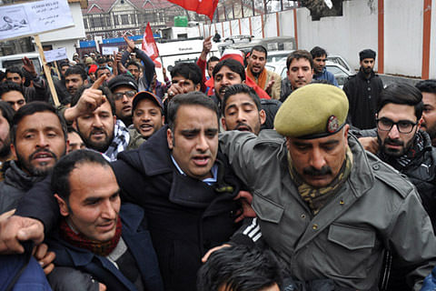 NC youth leaders march against PDP-BJP govt in Srinagar