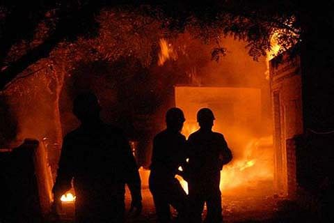 14 DHOKS GUTTED IN MYSTERIOUS FIRE