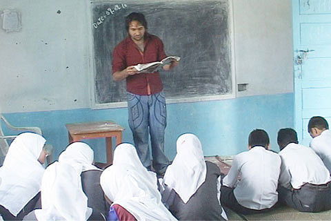 School teachers teach 11th, 12th class students in Baramulla