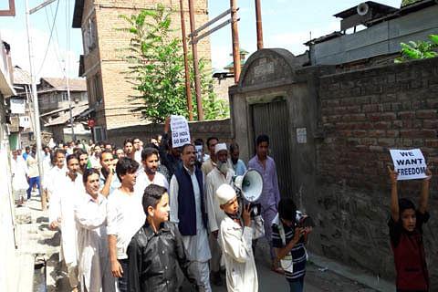 Pro-freedom rally, sit-in at Ansari Chowk in Nawa Kadal