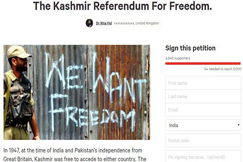 Petition on Change.org for 'Kashmir referendum for freedom'