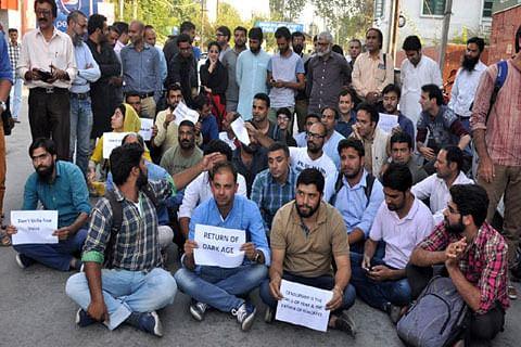 Journalists protest ban on 'Kashmir Reader' newspaper