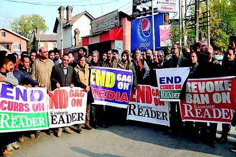 Protest against ban on newspaper