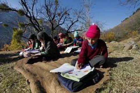 Ganderbal: Students sit on floor to write exams