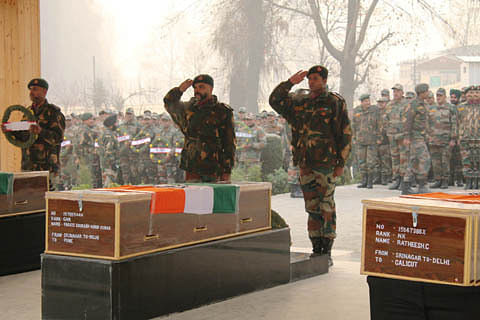 Army pays tribute to three soldiers killed in Pampore attack