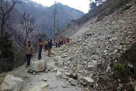 Landslides at construction site block Jammu- Srinagar highway