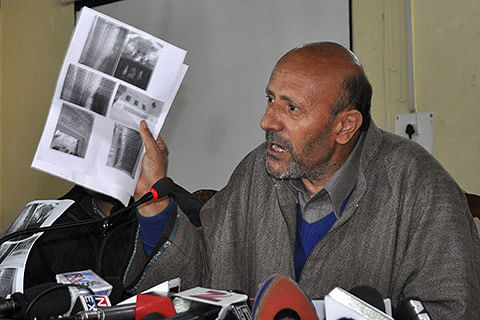 MLA Langate stages sit-in outside DC office in Kupwara