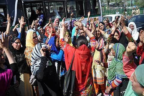 Family Welfare Employees register protest