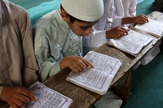 Children Praying in Kashmir Seminary During Ramadhan