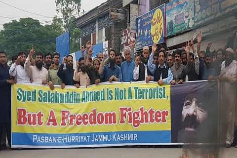 Hundreds rally in PaK-administered Kashmir capital against US action on Hizb Chief Salahuddin
