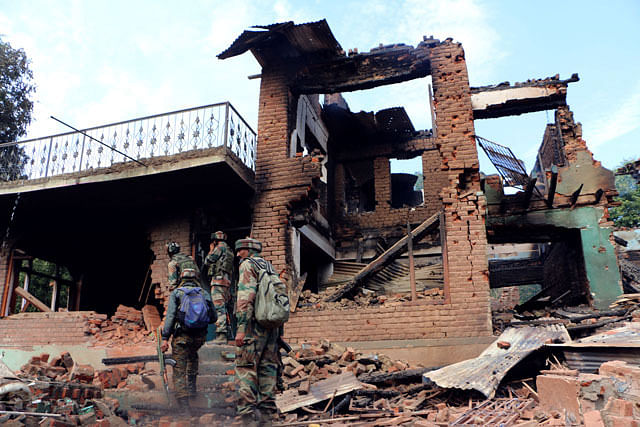 Bahmnoo Encounter over; Residential Houses Razed to Ground