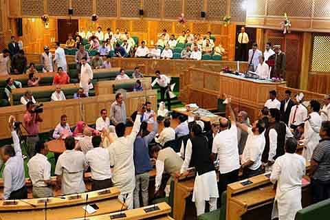 Amid protests, Govt passes GST resolution in Assembly
