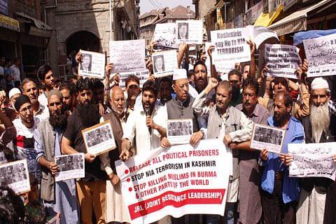 JKLF stages protest in Srinagar against NIA raids, arrests