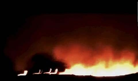 Flames consume residential house at Marmat