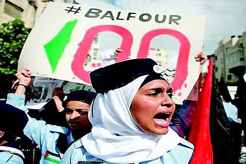 '100 YEARS OF DISPOSSESSION': Palestinians protest Balfour declaration