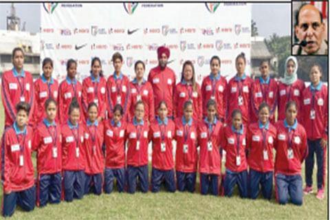JK women's football team members meet Rajnath Singh