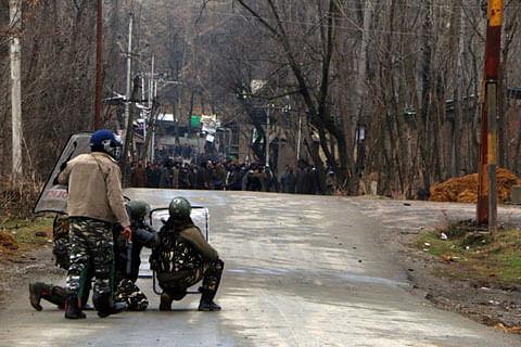 Aerial firing during clashes in Pakherpora Budgam