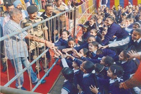 Bollywood actor Nana Patekar at BSF hqs in Jammu