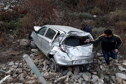 Jammu and Kashmir: Couple injured after car plunges into gorge in Doda