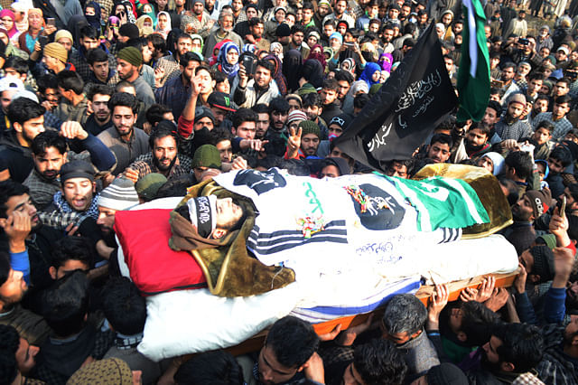 Four Rounds of Funeral Prayers Held For Slain Jaish Militant Fardeen Khanday in Tral