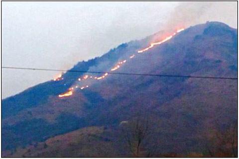 Forest fire rages in Zabarwan range