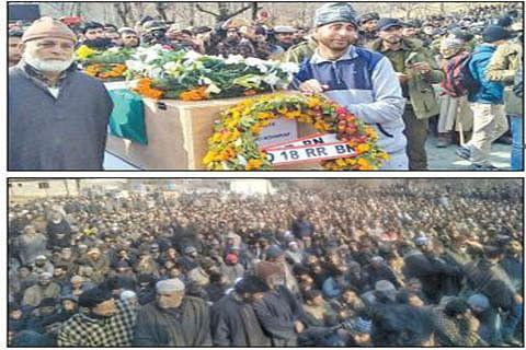 Hundreds participate in funerals of 2 army men in Kupwara