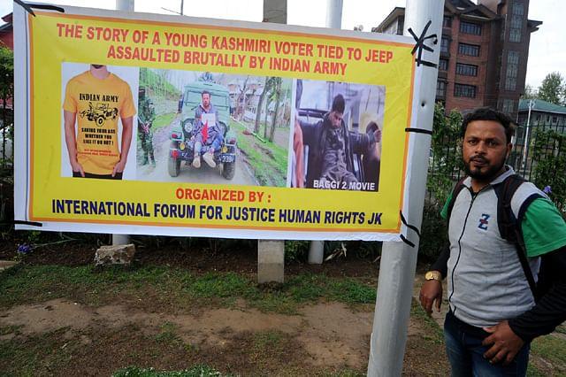 Kashmir Human Shield Victim Farooq Dar Holds Protest in Srinagar