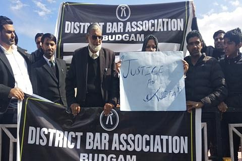 Budgam bar association holds protest, demands transfer of Asifa case from Kathua