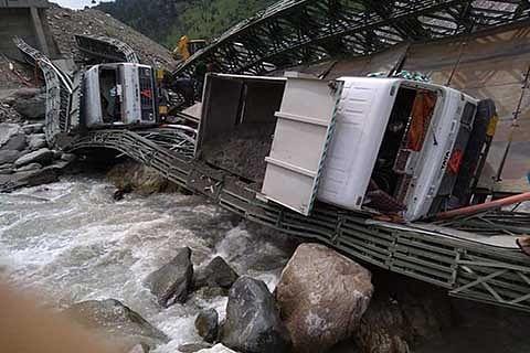 Iron bridge collapses in Banihal, 4 injured