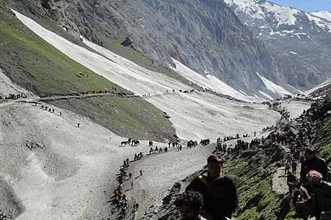 2203 pilgrims leave Jammu for Amarnath shrine in Kashmir Himalayas