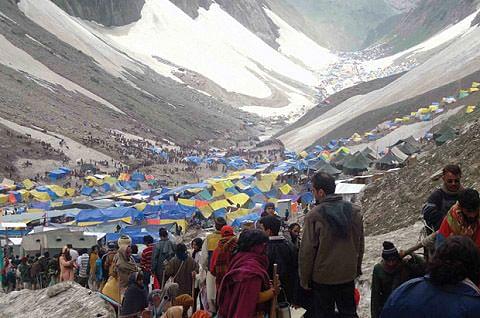 454 pilgrims leave for Amarnath Yatra in Kashmir Himalayas