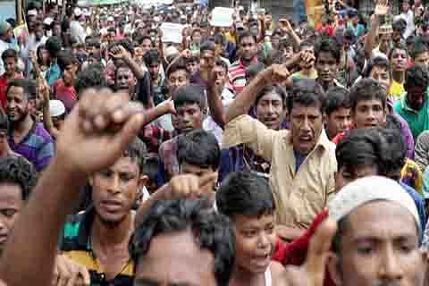 Rohingya protest for justice on crackdown anniversary