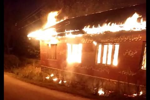 Video   Fire guts school building in Atina village of Budgam in central Kashmir