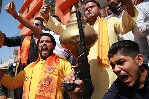 RSS, VHP, Bajrang Dal activists take out rallies, perform 'Shastra Poojan' on Vijaydashmi