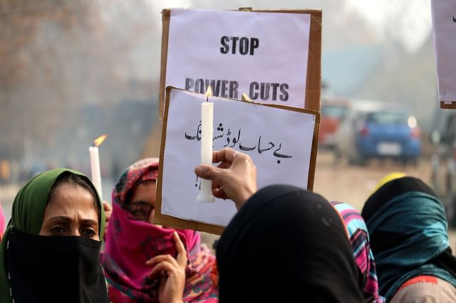 NC's Women Wing Protests Against Unscheduled Power Cuts In Kashmir