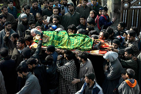 Braving frosty weather, thousands attend funeral prayers of slain militants in south Kashmir's Shopian