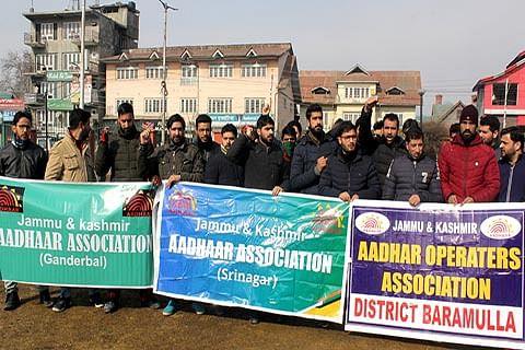 Aadhaar operators stage protest