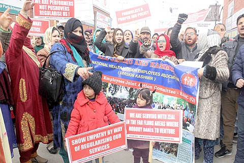 NRHM employees of south Kashmir strike work on 2nd day, healthcare hit
