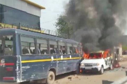 Police vehicles torched, highways blocked in Rajasthan