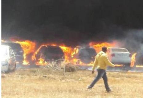 100 cars gutted in fire near Bengaluru air show