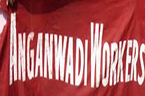 Anganwadi workers stage protest