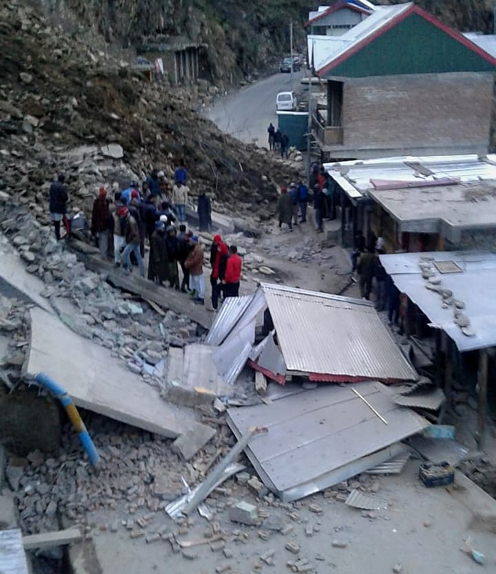 Landslide buries two dozen shops in Jammu and Kashmir's Doda