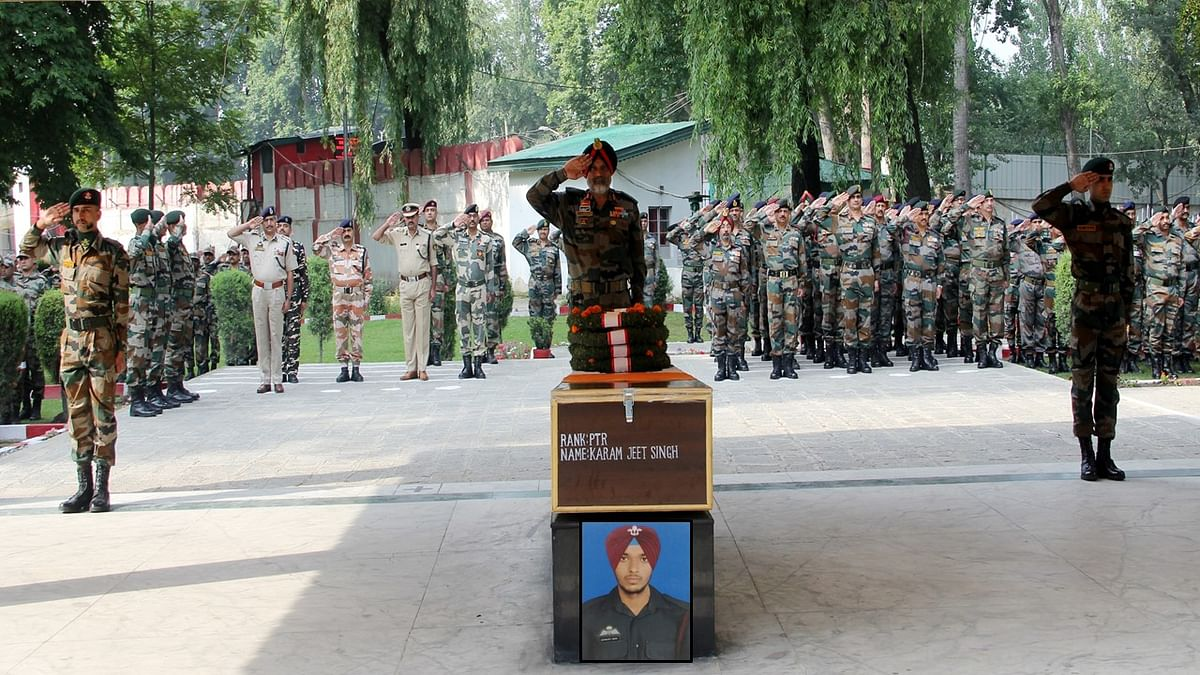 Army pays tribute to paratrooper killed in south Kashmir's Shopian